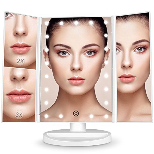 BESTOPE-Miroir-Maquillage-Cosmtique-21-LED-claires-Miroir-Lumire-Triple-de-Pliable-Grossissement-1X2X3X-Miroirs-LED-180Ajustable-Avec-Bouton-tactile-Batterie-cble-USB-0