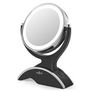 Miroir-Grossissant-Lumineux-7x-Anjou-Miroir-Maquillage-Portable-Double-Face-Rotation-360-Aspect-Vintage-ArgentNoir-Amovible-et-Aliment-par-3x-Piles-AA-Gratuites-0
