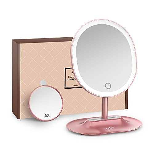 Anjou-Miroir-Maquillage-Lumineux-Rechargeable-avec-Amovible-5x-Miroir-Grossissant-Lumire–LED–Rglage-Tactile-Rotation–120-pour-Utilisation-sur-Comptoir-Or-Rose-0
