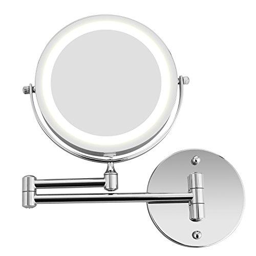 BATHWA-Miroirs-de-Maquillage-Mural-LED–deux-cts-de-Charge-par-Batterie-360–Horizontal-Pivotant-et-Vertical-Mtal-en-Chrom-Loupe-5x-et-Miroir-Plane-Ordinaire-0