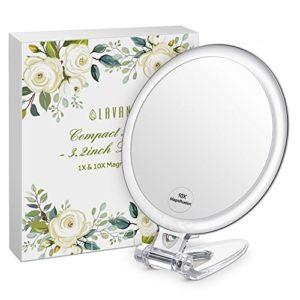 Lavany-Miroir-de-Poche-Grossissant-10X-Double-Face-Miroir--Main-Compact-Diamtre-8cm-Facile--Porter-0