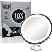 Fancii-Miroir-de-Maquillage-Grossissant-10X-Lumineux-avec-Ventouse-Miroir-de-Voyage-avec-Lumires-LED-Dimmable-Pliable-20-cm-de-Largeur-Rotation--360-et-Fonctionnant-sur-batterie-0