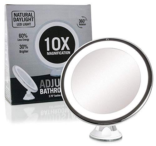 Fancii-Miroir-de-Maquillage-Grossissant-10X-Lumineux-avec-Ventouse-Miroir-de-Voyage-avec-Lumires-LED-Dimmable-Pliable-20-cm-de-Largeur-Rotation–360-et-Fonctionnant-sur-batterie-0