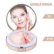 LONGKO-Miroir-de-Poche-LED-Lumineux-USB-Rechargeable-Grossissant-10X-Double-Face-HD-3-Modes-dEclairagelumire-FroideChaudeMixte-Miroir-de-Maquillage--Main-pour-Voyage-Ronde-0-0