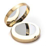 LONGKO-Miroir-de-Poche-LED-Lumineux-USB-Rechargeable-Grossissant-10X-Double-Face-HD-3-Modes-dEclairagelumire-FroideChaudeMixte-Miroir-de-Maquillage--Main-pour-Voyage-Ronde-0