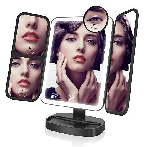 EASEHOLD-Miroir-Lumineux-de-Maquillage-Miroir-de-Table-Tri-Pli-avec-38-LED-Grossissant-2X-5X-10X-Rotation-Rglable-180Ultra-Lger-Ultra-Mince-Eclair-Version-Mise–Jour-Noir-0