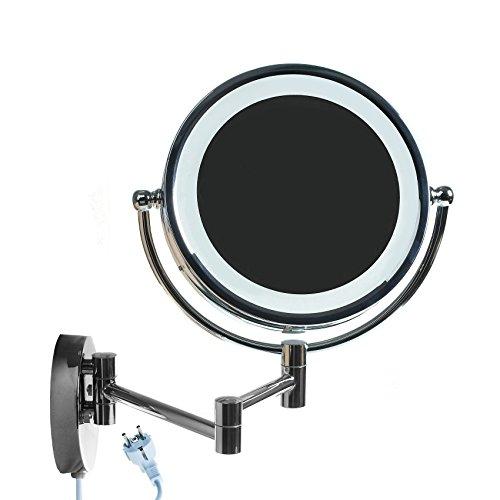 HIMRY-85-Pouces-LED-Miroir-cosmtique-Mural-Grossissant-x10-Lumineux-Extension-Pliant-peut-tre-mont-avec-ou-sans-forage-Double-Face-avec-normale-et-Grossissant-x10-360-degrs-rotation-KXD3129-10x-0
