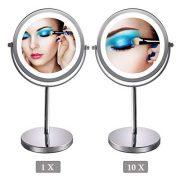 Miroir-Grossissant-Eclair-Miroir-Double-Face-de-7-de-Diamtre-avec-Eclairage-18-LED-Pied-Rotatif--360-Parfait-pour-le-Maquillage-votre-Coiffure-et-votre-Toilette-Pincettes--Sourcils-0-0