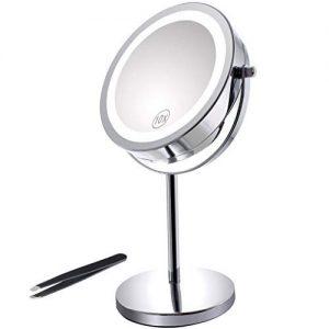 Miroir-Grossissant-Eclair-Miroir-Double-Face-de-7-de-Diamtre-avec-Eclairage-18-LED-Pied-Rotatif--360-Parfait-pour-le-Maquillage-votre-Coiffure-et-votre-Toilette-Pincettes--Sourcils-0