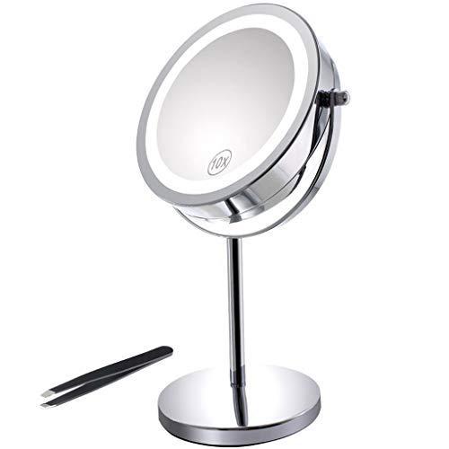 Miroir-Grossissant-Eclair-Miroir-Double-Face-de-7-de-Diamtre-avec-Eclairage-18-LED-Pied-Rotatif–360-Parfait-pour-le-Maquillage-votre-Coiffure-et-votre-Toilette-Pincettes–Sourcils-0