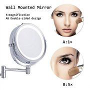 Miroir-Grossissant-Lumineux-Mural-x-5-Miroir-Salle-De-Bain-6-Pouces-Double-Face-LED-360-Degrs-Rotation-Pliable-4-Piles-AAA-Requises-Non-Fournies-Mont-sur-Un-Mur-Rond-Pivotant-0-0