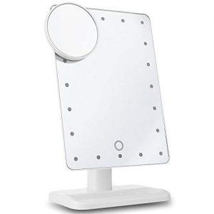 Miroir-Maquillage-20-LED-Lumineux-avec-Miroir-Grossissant-10X-Dtachable-Tactile-Bouton-Miroir-de-Table-pour-Maquillage-Rasage-Toilettage-Brossage-Blanc-0