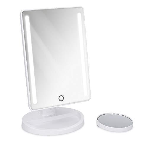 Navaris-Miroir-Grossissant-Miroir-Grossissant-1x-10x-Lumineux-avec-LED-Miroir-sur-Pied-Salle-de-Bain-Maquillage-Cosmtique-Beaut-Blanc-0