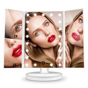 Dernire-Version-Miroir-Maquillage-HAMSWAN-Miroir-Grossissant-Triptyque-avec-21pcs-LED-Miroir-Lumineux-3X2X-avec-Ecran-Tactile-Alimentation-Double-Rotation-Rglable--180--0