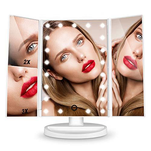 Dernire-Version-Miroir-Maquillage-HAMSWAN-Miroir-Grossissant-Triptyque-avec-21pcs-LED-Miroir-Lumineux-3X2X-avec-Ecran-Tactile-Alimentation-Double-Rotation-Rglable–180–0