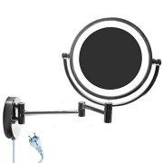 HIMRY-85-Pouces-LED-Miroir-cosmtique-Mural-Grossissant-x10-Lumineux-Extension-Pliant-Peut-tre-Mont-avec-ou-sans-Forage-Double-Face-Normale-et-Grossissant-x10-360-Degrs-Rotation-KXD3129-10x-0-0