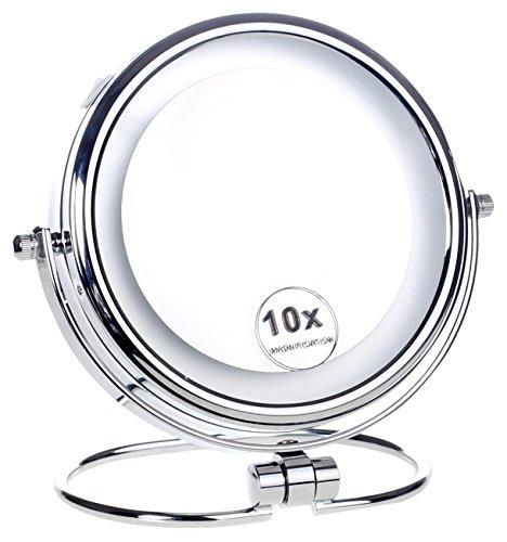 HIMRY-LED-6-Pouces-Lumineux-Miroir-cosmtique-sur-Pied-Assisi-15-cm-Miroir–Piles-Double-Face-avec-Normale-et-Grossissant-x10-360-degrs-Rotation-KXD3137-10x-0