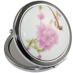 Kolight-Miroir-de-poche-double-cts-pliable-un-ct-miroir-grossissant-lautre-ct-miroir-normal-Design-vintage-chinois-fleur-oiseau-rouge-0