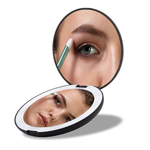 MEOREX-Miroir-Lumineux-de-Poche-Grossissant-1x-10x-LED-Miroir–Main-de-Maquillage-avec-clairage-Naturel-130mm-de-Diamtre-Compact-et-Portable-pour-Voyage-0