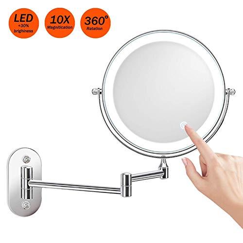 Miroir-Grossissant-Lumineux-Mural-x10-Miroir-Salle-De-Bain-8-Pouces-Double-Face-LED-360-Degrs-Rotation-Pliable-4-Piles-AAA-Requises-Non-Fournies-0