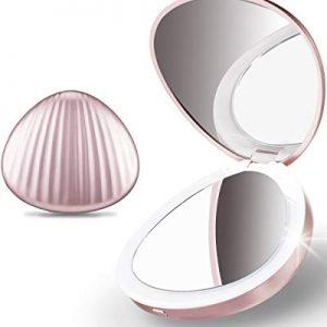 Ulinek-Petit-Miroir-de-Poche-Lumineux-11-LEDGrossissant-5X-clairage-DouxVoyage-Portable-Miroir-de-Maquillage-Or-Rose-Cadeau-clairant-pour-Femme-Fille-0