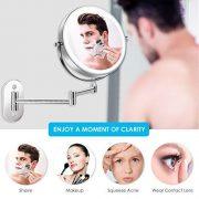 alvorog-8-Pouces-LED-Miroirs-de-Maquillage-Double-Face-Miroir-Mural-Miroir-cosmtique-5-Fois-grossissement-Charge-par-BatterieNon-Inclus-Chrome-0-0