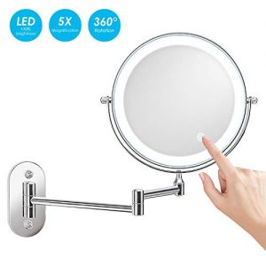 alvorog-8-Pouces-LED-Miroirs-de-Maquillage-Double-Face-Miroir-Mural-Miroir-cosmtique-5-Fois-grossissement-Charge-par-BatterieNon-Inclus-Chrome-0