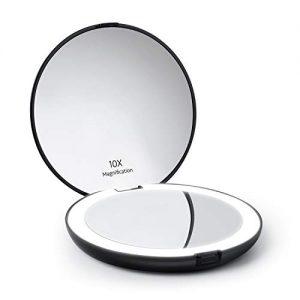 Auxmir-Miroir-de-Poche-Miroir-Grossissant-Lumineux-x10-et-x1-Grand-Miroir--Main-Pliant-Double-Face-HD-Miroir-Cosmtique-clair-Miroir-Compact-et-Portable-pour-Voyage-Noir-0