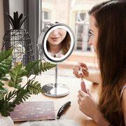 Navaris-Miroir-Cosmtique-Lumire-LED-Miroir--Pied-2-Faces-NormalGrossissant-x7-Miroir-Rond-Lumineux-pour-Maquillage-Rasage-Rotatif-360-0-0