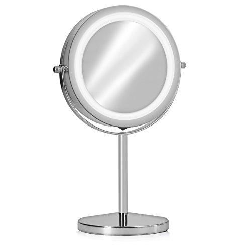 Navaris-Miroir-Cosmtique-Lumire-LED-Miroir–Pied-2-Faces-NormalGrossissant-x7-Miroir-Rond-Lumineux-pour-Maquillage-Rasage-Rotatif-360-0
