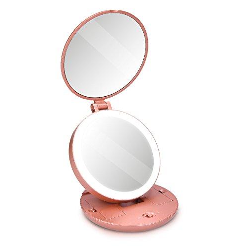 Navaris-Miroir-de-Poche-grossissant-Miroir-Lumineux-LED-Rond-Pliable-avec-grossissement-x5-pour-Maquillage-beaut-en-Voyage-ou–Poser-Rose-0