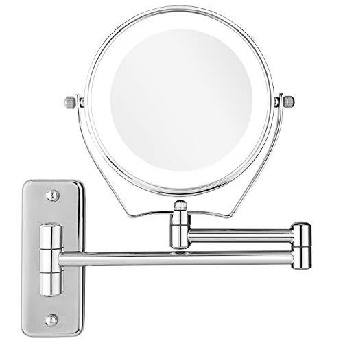 BATHWA-Miroirs-de-Maquillage-Mural-LED–deux-cts-de-Charge-par-Batterie-360–Horizontal-Pivotant-et-Vertical-Mtal-en-Chrom-Loupe-5x-et-Miroir-Plane-Ordinaire-7X-6-Pouces-0