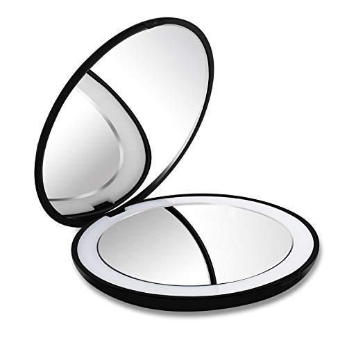 DeWEISN-Compact-Miroir-de-Voyage-Miroir-de-Poche-pour-Maquillage-avec-Lumire-Grossissant-1X10X-Double-Visage-Miroir-Portable-avec-12-LED-Cadeau-pour-Femme-et-Fille-0