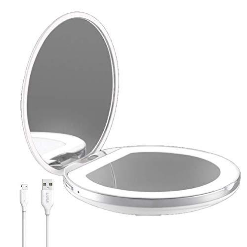 Flybiz-USB-Quick-Charge-Miroir-Lumineux-de-Poche-Grossissant-1x-3x-LED-Lumire-du-Jour-Miroir–Main-de-Maquillage-Miroir-Portable-clair-pour-Sacs–Main-et-Voyage-0