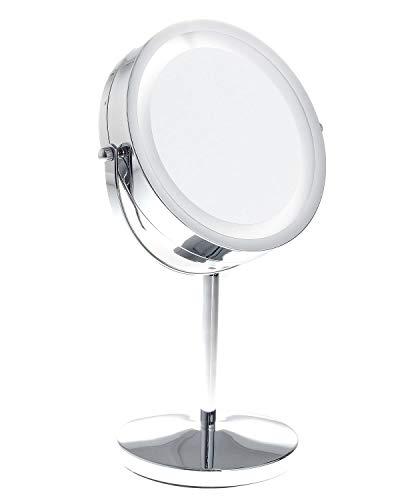 TUKA-Lumineux-Miroir-Maquillage-10X-Grossissant-LED-Miroir-cosmtique-pour-Rasage-dans-Salle-de-Bain–Piles-Double-Face-avec-Normale-et-Grossissant-TKD3145-10x-0