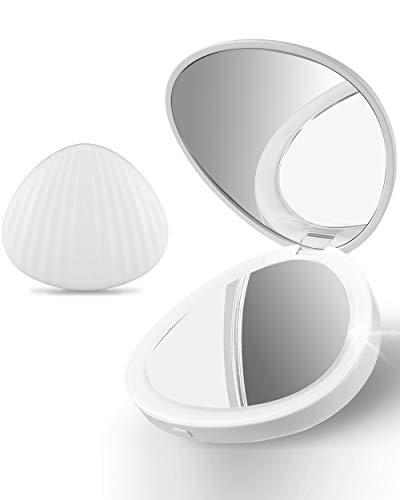 Ulinek-Petit-Miroir-de-Poche-Lumineux-11-LEDGrossissant-5X-clairage-DouxVoyage-Portable-Miroir-de-Maquillage-Blanc-Cadeau-clairant-pour-Femme-Fille-0