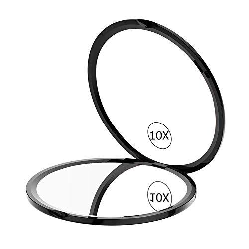 WEILY-Miroir-de-Maquillage-Compact-Pour-le-Voyage-Miroir-de-Poche-avec-Grossissement-1X10X-avec-rotation-rglable–180–mini-miroir-portable-pliable-rond-10X-Noir-0
