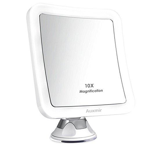 Auxmir-Miroir-Grossissant-de-Maquillage-avec-Lumires-LED-Miroir-clair-de-Voyage-Miroir-Ventouse-a-Poser-pour-Rasage-et-Maquillage-sans-Fil-Ajustable–360-Carr-0