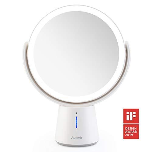Auxmir-Miroir-Grossissant-x10-x1-Pivote–Deux-Cts-Miroir-Maquillage-Lumineux-LED-5-Niveaux-de-Luminosit-Miroir-de-table-Pivotant–360–Miroir-Cosmtique-de-Voyage-Portatif-0