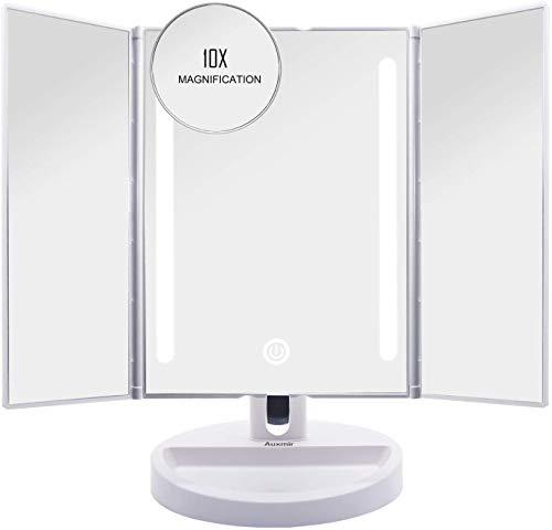 Auxmir-Miroir-de-Maquillage-clair-cran-Tactile-LED-Miroir-Maquillage-de-Table-Trois-Panneaux-Lumire-LED-Miroir-Cosmtique-avec-Cble-USB-Grossissant-5X-et-10X-0