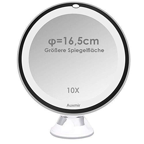 Auxmir-Miroirs-Grossissants-x10-Miroir-de-Maquillage-Voyage-avec-Lumire-LED-et-Verrouillage-Ventouse-Ajustable–360-Miroir-Cosmtique-Portable-pour-Salle-de-Bain-Diamtre-165-cm-0