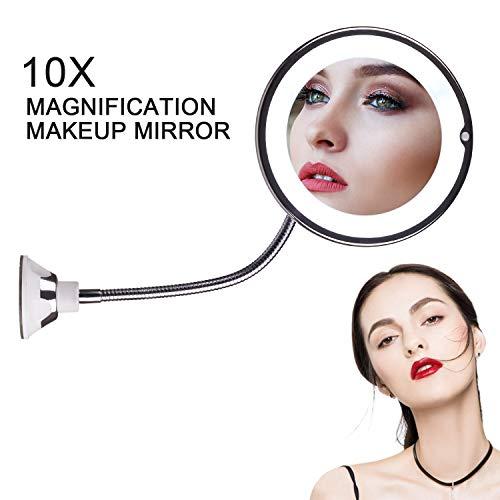 STLOVe-Miroir-Grossissant-LED-Maquillage-10-fois-Rotation–360-Degrs-avec-col-de-Cygne-Rglable-Miroir-Salle-de-Bain-avec-AspirationSans-fil-Portable-Miroir-Mural-0