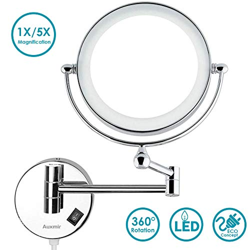 Auxmir-Miroir-Maquillage-Mural-Miroir-Mural-Double-Face-Miroir-Grossissant-Lumineux-Mural-x10-Miroir-Cosmtique-Extension-360Pivotant-pour-Salle-de-Bain-0